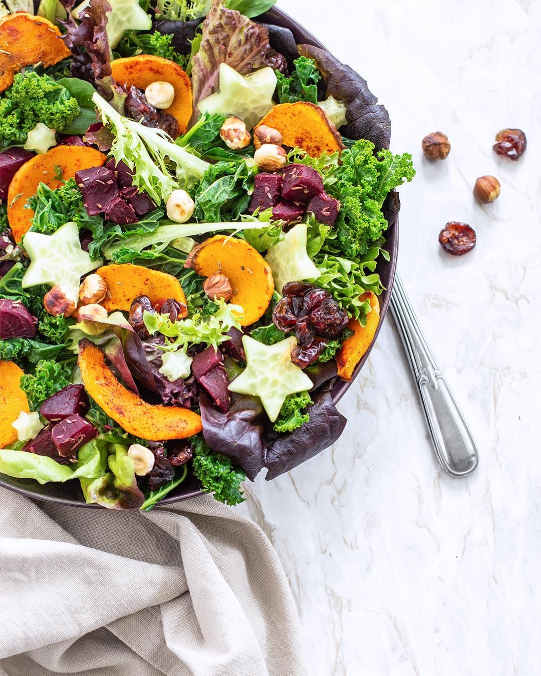 Salat Weihnachten.Winterlicher Salat Mit Kürbis